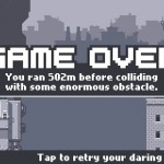 Canabalt video game - game over screen